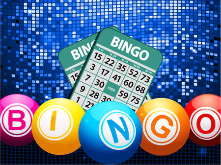 Bingo Balls Composing the Word Bingo and Cards Over Glowing Blue Mosaic Background
