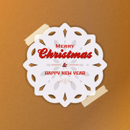 White Snowflake with Marry Christmas and Happy New Year Text Hanging with Sellotape Over Brown Paper Background