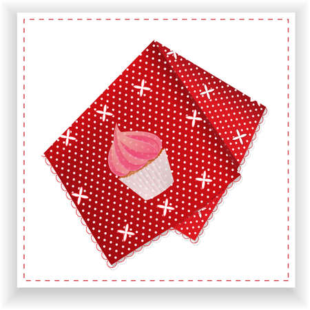 Red and White Dots Folded Tea Towel with Printed Cupcake Over Withe Panel Illustration