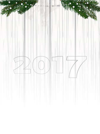 shaded: Twenty Seventeen in Numbers Over Shaded White Wood Background with Pine Tree Branches and Decoration