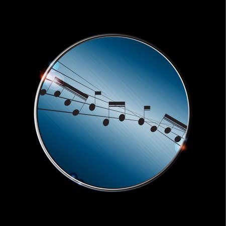 pentagramma musicale: Bordo metallico Con distorta Musica Pentagramma e note sopra il nero