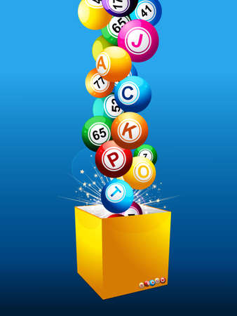 Balls with Numbers and Letters Composing the Word Coming Out from a Yellow Box Over Blue Illustration