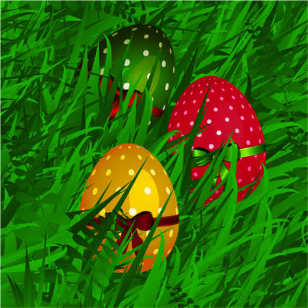 grass close up: 3D Illustration of Close Up Decorated Easter Eggs with Ribbon and Bow Over Green Grass