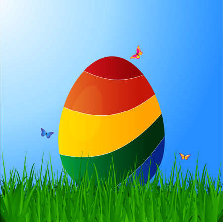 grass close up: 3D Illustration of a Curved Striped Easter Egg on Green Grass Over Blue Sky Background with Butterfly