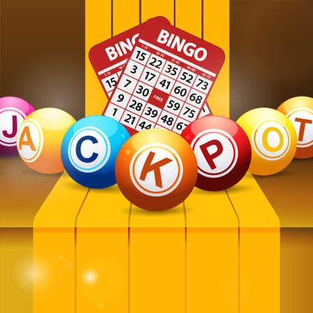 3D Illustration of Jackpot Bingo Lottery Balls and Red Cards Over Golden Yellow Step with Stripes