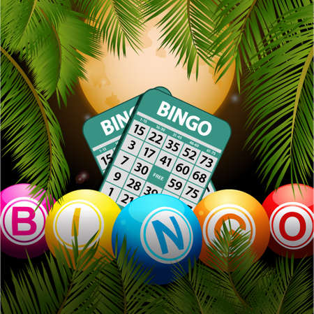 Bingo Balls and Cards Over Tropical Night Background with Palm Trees and Moon