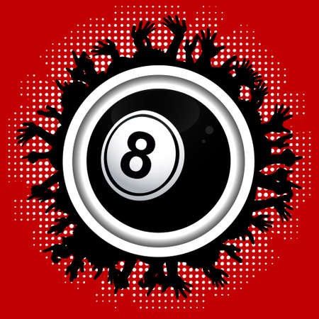 8 ball: Number Eight Black Bingo Lottery Ball Over White Border with Crowd Silhouette on Red Background