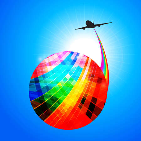 Multicoloured Striped Abstract Globe with Rainbow and Airplane Silhouette Over Blue Sunny Sky Illustration