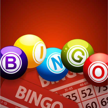 3D Illustration of Bing Balls and Cards Over Red Velvety Background