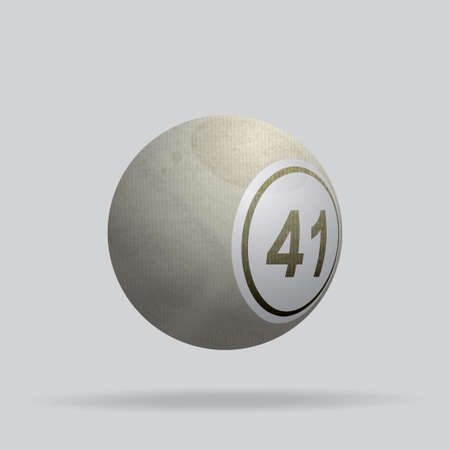 3D Illustration of a Bingo Lottery Ball Made of Ivory Crumpled Material with Shadow Background Ilustrace