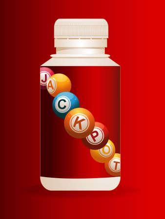 3D Illustration of Plastic Pills Bottle with Bingo Jackpot Balls Label Over Red Velvety Background Illustration