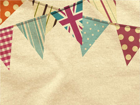 Vintage Colourful Bunting Over Ivory Crumpled Material Background