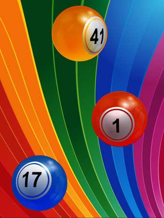 Ilustración 3D de bolas de bingo sobre fondo de rayas multicolores Foto de archivo - 81714777