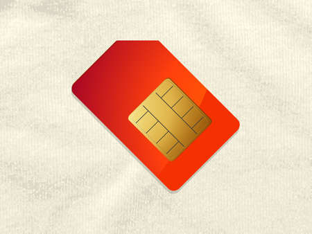 Red Telephone Sim  Card with Shadow Over Crumpled Material Background Ilustrace