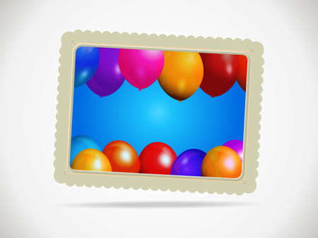 Paper gift card with balloons and shadow background