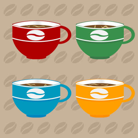 Four Decorated Coffee Cups in Different Colours Over Light Brown Background with Coffee Beans Ilustração