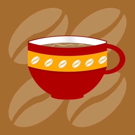 Red Decorated Coffee Cup with Beans Over Brown Background with Coffee Beans Ilustração
