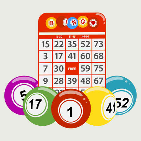 Drawning Style Bingo Balls Around a Red Bingo Card Background