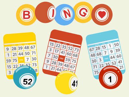 trio: Trio of Bingo Cards and Balls Over Light Green Background
