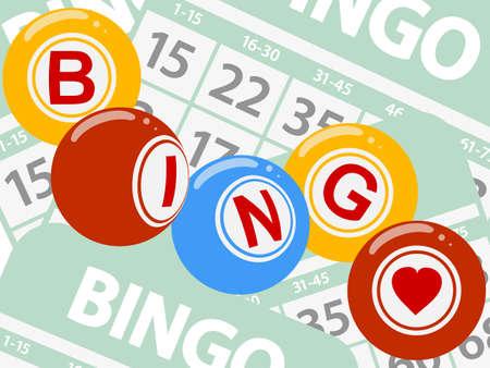 Disegno Stile Bingo Lotteria Sfere Sopra Verde Bingo Carte Sfondo Archivio Fotografico - 84802741