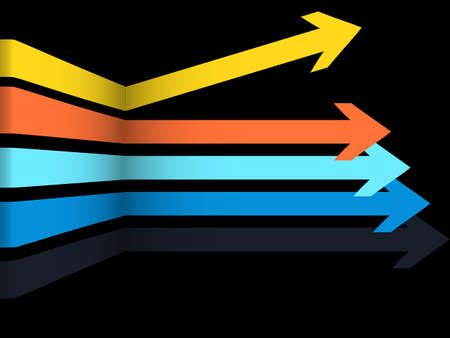 3D Illustration of Geometric Abstract Multicoloured Arrows Over Black Background with One Arrow Going in Different Direction Çizim