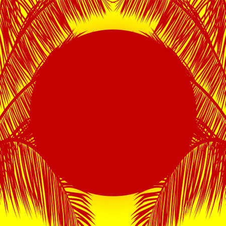 Red Sun and Pal Tree Silhouette Copy Space Over Yellow Background