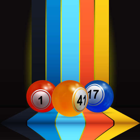 3D Illustration of Trio Of Bingo Lottery Balls Over Vertical Multicoloured Stripes and Shelve with Shadows on Black Background