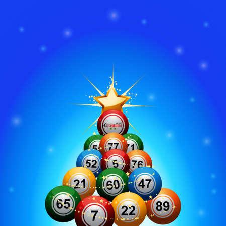 빙고 빛나는 배경 위에 황금 스타로 장식 된 빙고 복권 공으로 만든 크리스마스 트리