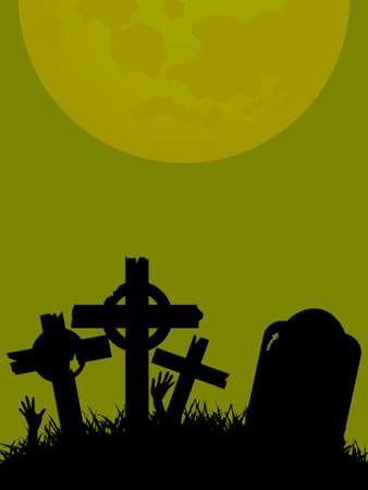 Halloween green background with rotten tombstone, crosses in a field, zombie hands and moon. Illustration