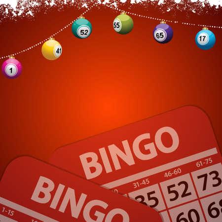 お祭りの装飾が施された赤い背景コピー スペース雪クリスマス ビンゴ抽選つまらないとビンゴのカード
