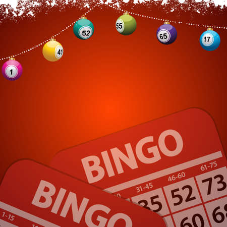 Festive Decorated Red Background Copy Space with Snow Christmas Bingo Lottery Baubles and Bingo Cards