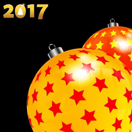 3D Illustration of Christmas Decorated Baubles Red and Yellow with Stars Over Black Background with Date in Golden Numbers and Cut Out Christmas Tree