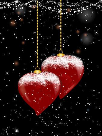 Illustration 3d des Herzens formte Weihnachtsflitter mit goldenen Ketten und Schnee über schwarzem festlichem Hintergrund verziert mit Sternen und Sternen Standard-Bild - 91356881