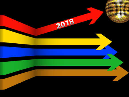 3D Illustration of Multicoloured Arrows with 2018 New Years Date and Golden Disco Ball Over Black Background Illustration