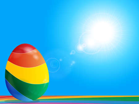 Colorful Easter Egg On Rainbow Surface