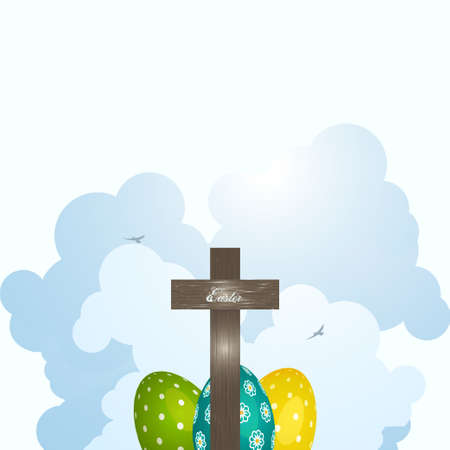 Easter Wooden Cross and Decorated Eggs Over  Clouds and Birds Vector illustration. Illustration