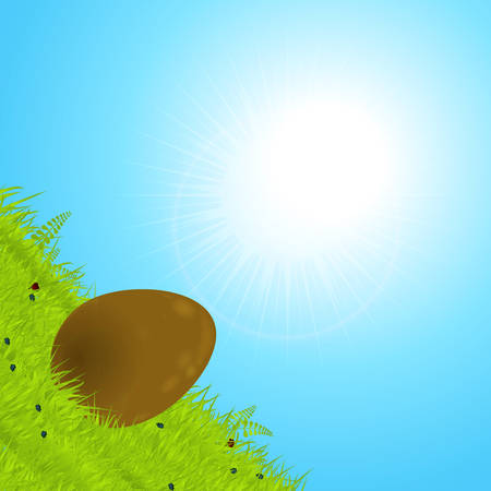 3D Illustration Of a Chocolate Easter Egg Rolling Down a Green Hill Over Sunny Blue Sky