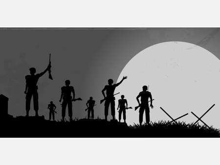 Silhouette of a Group of Soldiers on a Battlefield and Moon Over Grunge Background Çizim