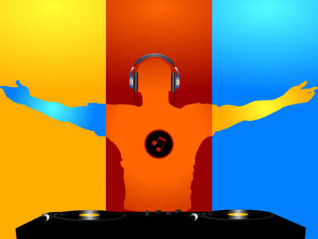 DJ Silhouette in Blue Red and Yellow with Record Decks Headphone and Music Note Logo on the Chest Over Yellow Red and Blue Background