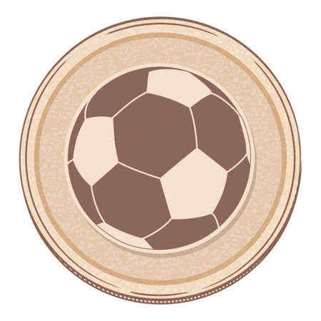 Hand Drawing Style Soccer Football Over Brown Circular Border