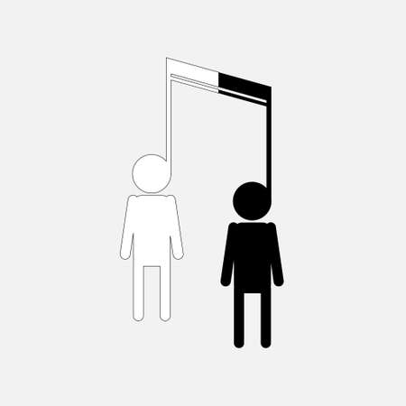 Silhouette oft a Black and White Men United By a Music Note Ilustrace