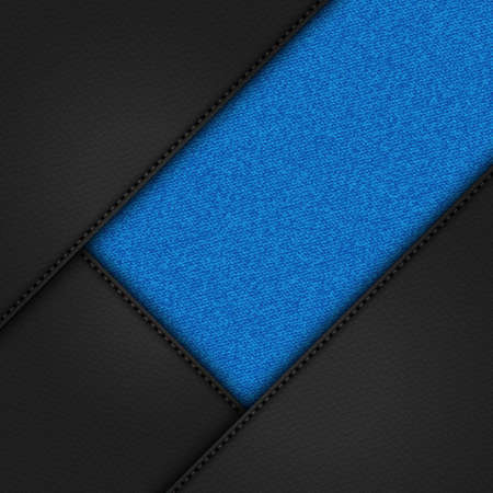 3D Illustration of Black Leather Corners with Stitching and Blue Denim Material Background 向量圖像