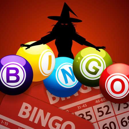 Bingo Halloween Red Background with Black Silhouette of a Creepy Witch Bingo Balls and Bingo Cards