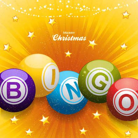 Festive Star Burst Yellow Background with Bingo Balls Decoration Stars and Decorative Text