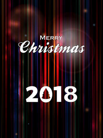 Abstract Striped Glowing Background with Merry Christmas 2018 Decorative Text