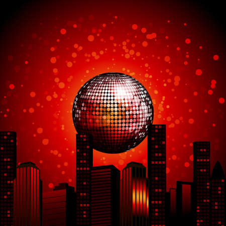 Abstract City Landscape with Red Disco Ball Over Red Background