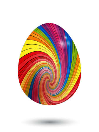 3D Illustration of Swirl Striped Easter Egg With Shadow Over White Background