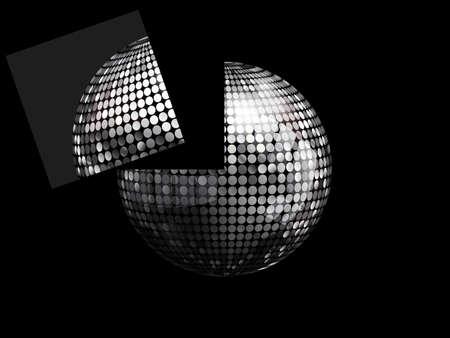 3D Illustration of Silver Disco Ball With a Portion of it Flying Away Over Black Background Ilustração