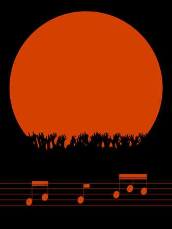 Musikfestival oder Party Red Border Textfreiraum mit jubelnder Menge Silhouette über schwarzem Porträthintergrund mit Musiknoten auf Pentagramm