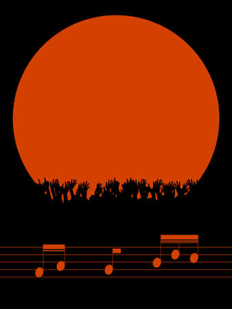 Music Festival or Party Red Border Copy Space with Cheering Crowd Silhouette Over Black Portrait Background with Music Notes on Pentagram Illustration